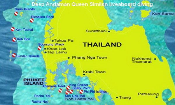 Similan liveaboard diving map