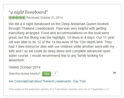 Thailand liveaboards trip advisor Deep Andaman Queen