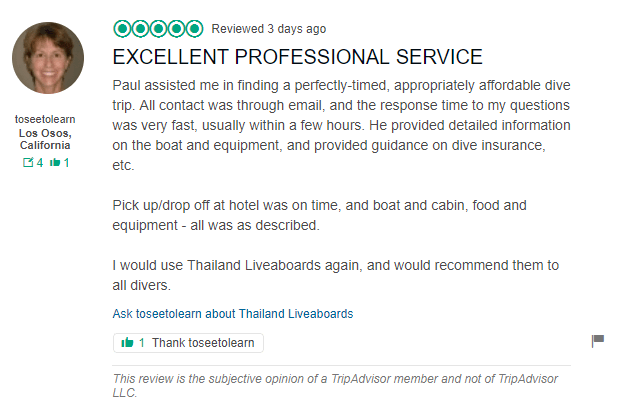 Trip advisor review for Thailand liveaboards